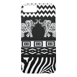 Blanco negro de los elefantes gemelos n funda iPhone 7