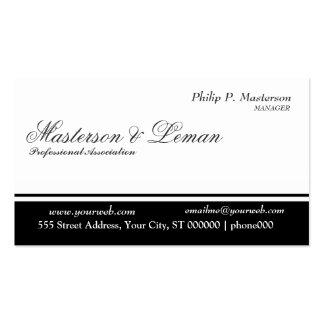 Blanco negro limpio elegante simple llano tarjetas de visita
