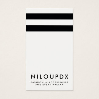 Blanco negro moderno simple rayado tarjeta de negocios
