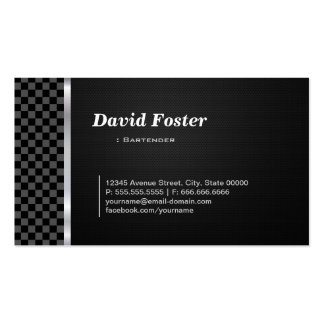 Blanco negro profesional del camarero tarjetas de visita