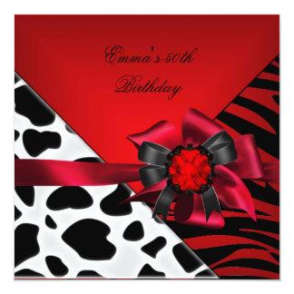 Blanco negro rojo de la vaca de la cebra de la invitación 13,3 cm x 13,3cm