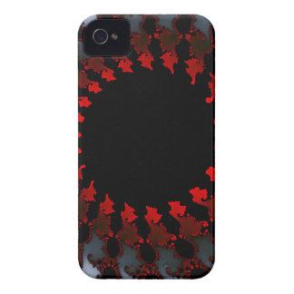 Blanco negro rojo del fractal funda para iPhone 4 de Case-Mate