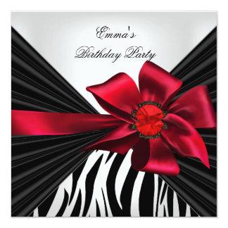 Blanco negro rojo elegante de la cebra de la invitación 13,3 cm x 13,3cm