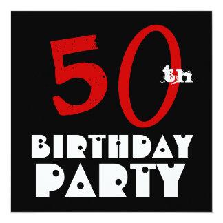 Blanco negro rojo W1072 del 50.o cumpleaños Invitación 13,3 Cm X 13,3cm