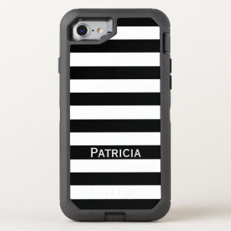 Blanco noble y rayas negras. ¡Él! Funda OtterBox Defender Para iPhone 7