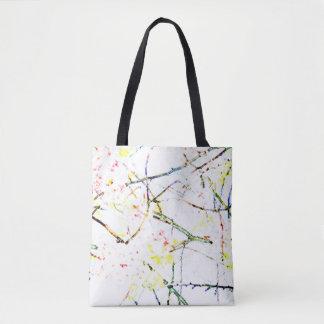 Blanco oriental abstracto de la impresión del flor bolsa de tela
