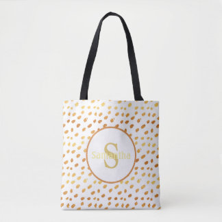 Blanco personalizado del monograma y la bolsa de