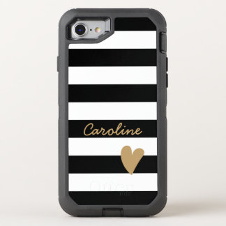 Blanco precioso moderno del negro de la decoración funda OtterBox defender para iPhone 7