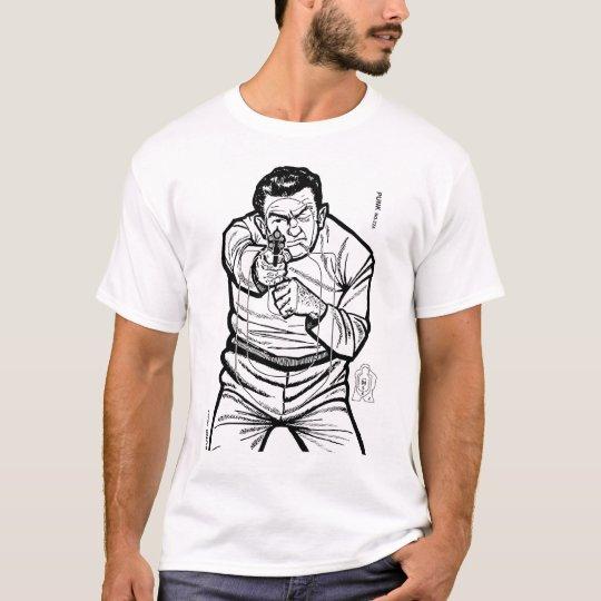 Blanco punky de la radio de tiro del kitsch retro camiseta