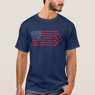 Blanco rojo de la bandera americana del avión de camiseta