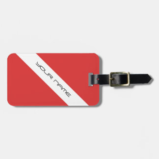 Blanco rojo del emblema de los buceadores de la etiquetas para maletas
