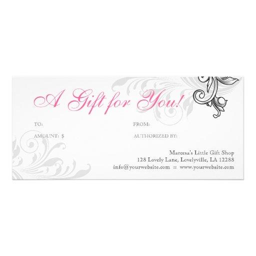 Blanco rosado floral de la venta al por menor eleg diseño de tarjeta publicitaria