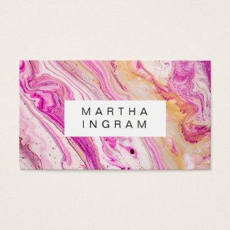 Blanco rosado fresco brillante del oro del tarjeta de visita
