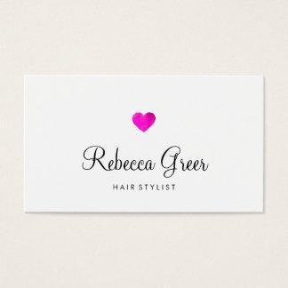 Blanco rosado moderno del estilista del corazón tarjeta de negocios