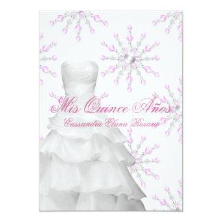 Blanco rosado Quinceanera del rosa de los copos de Invitación 12,7 X 17,8 Cm