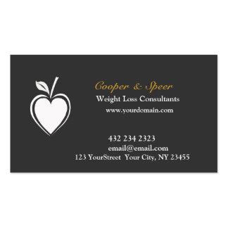Blanco sano del negro del nutricionista el tarjetas de visita