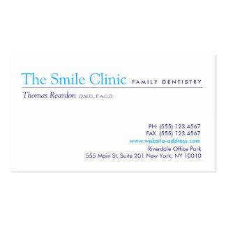 Blanco simple de la odontología de la familia del tarjetas de visita