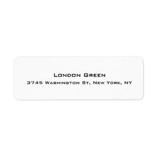 Blanco simple llano profesional elegante moderno etiqueta de remitente