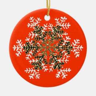 Blanco Transp del copo de nieve 2 el regalo de Adorno Navideño Redondo De Cerámica