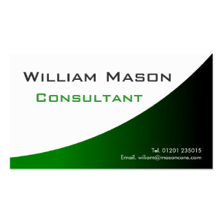Blanco verde curvado, tarjeta de visita profesiona