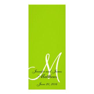 Blanco verde del monograma del programa de la igle invitaciones personalizada