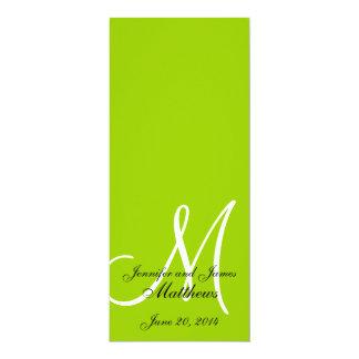 Blanco verde del monograma del programa de la invitación 10,1 x 23,5 cm