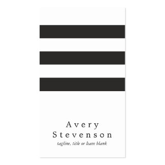 Blanco vertical moderno rayado blanco y negro tarjetas de visita