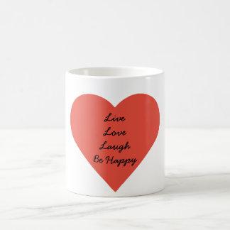 Blanco vivo de la risa del amor taza blanca