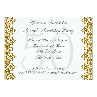 Blanco y 50.o blanco de la fiesta de cumpleaños invitación 12,7 x 17,8 cm