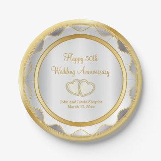 Blanco y aniversario de boda del oro 50.o plato de papel
