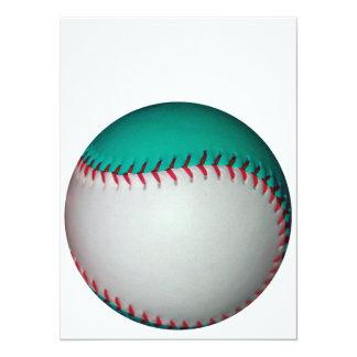 Blanco y béisbol del trullo/softball invitación 13,9 x 19,0 cm