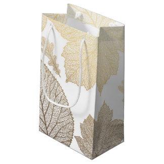 Blanco y boda de la caída de las hojas del oro bolsa de regalo pequeña