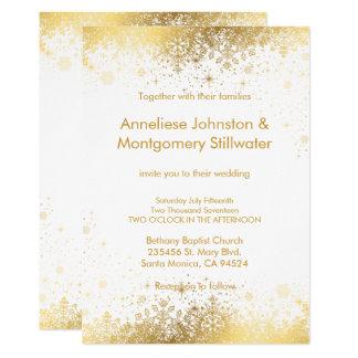 Blanco y copos de nieve del oro que casan la invitación 12,7 x 17,8 cm