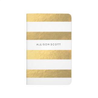 Blanco y diario personalizado oro