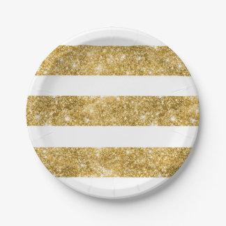 Blanco y el casarse de las rayas del brillo del plato de papel