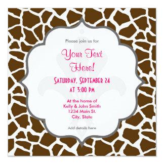 Blanco y estampado de animales de la jirafa de invitación 13,3 cm x 13,3cm