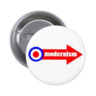 blanco y flecha del modernismo chapa redonda 5 cm