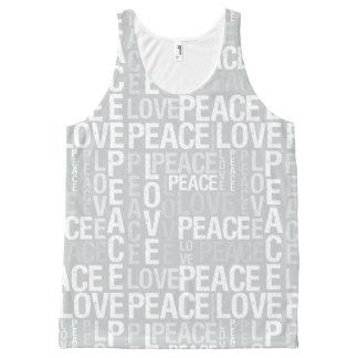 Blanco y gris de la tipografía de la paz y del camiseta de tirantes con estampado integral