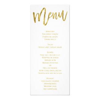 Blanco y menú del boda del oro personalizado invitación 10,1 x 23,5 cm