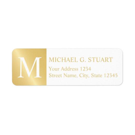Blanco y monograma elegante del oro etiqueta de remite