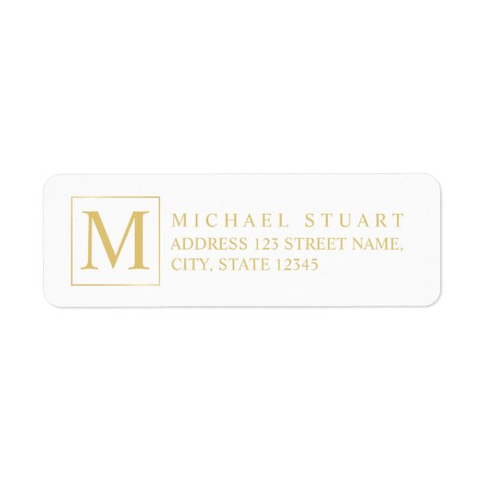 Blanco y monograma elegante del oro etiquetas de remite