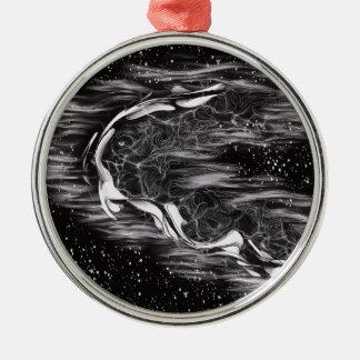 Blanco y negro abstracto adorno de cerámica
