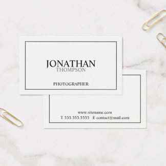 Blanco y negro clásico profesional tarjeta de visita