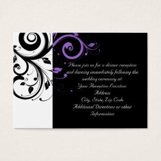 Blanco y negro con acento púrpura del remolino tarjeta de negocios
