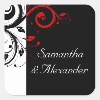 Blanco y negro con remolino reverso rojo pegatina cuadrada
