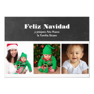 Blanco y negro de Feliz Navidad personalizado Invitación 12,7 X 17,8 Cm