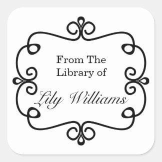 Blanco y negro de la biblioteca del Bookplate Pegatina Cuadrada