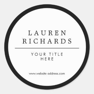 Blanco y negro de lujo profesional pegatina redonda