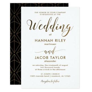 Blanco y negro elegante con el boda de cobre de la invitación 12,7 x 17,8 cm