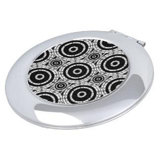 Blanco y negro geométrico espejo para el bolso